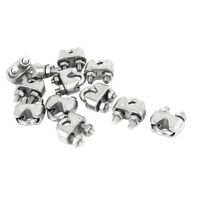 """12 Pcs Threaded 6.5mm 1/4"""" Wire Rope C Cable Clamp Fastener A5P9 T1K7"""