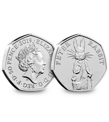 2019 Peter Rabbit 50P Fifty Pence Uk Certified Bu