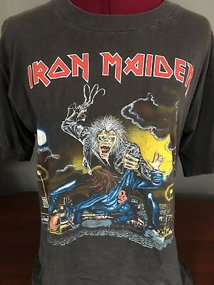 Vintage 1991 Iron Maiden No Prayer On Road Concert Tour T-Shirt Metal Rock