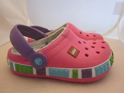 2911f27a5 Crocs Kids Crocband Lego Mammoth Fleece Clog Lightweight Comfort Sz J1 Pink  Girl