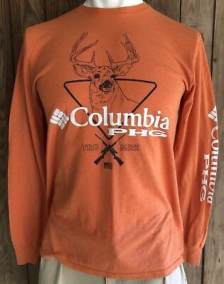 a0c48afdb22 Columbia PHG Men's Large Tshirt Long Sleeve Orange Cotton Blend Hunting Gear