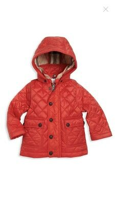 New Authentic Burberry Unisex Kids Infant Quilted Jacket Red