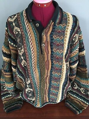 Vintage 80s 90s Tundra Canada COOGI Cosby Sweater Hip-hop 3-D Size XL