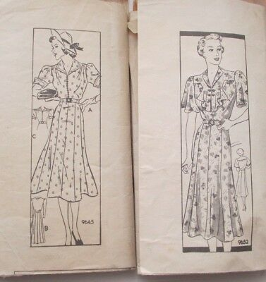 2 Vintage 1930s Marian Martin 9652 9645 Sewing Patterns DRESS Mail Order Bust 38