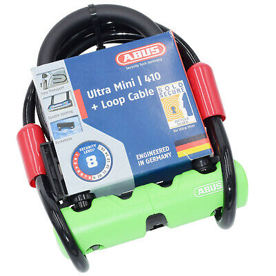 Abus Ultra 410 Mini Bicycle U Lock With Steel Cable Sold Secure Silver Security
