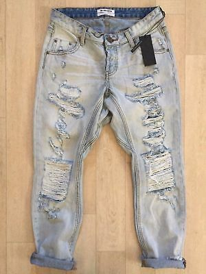 c06046dd4d0 $158 NWT One Teaspoon Trashed Jeans LONELY BOY Blue Hart Baggies Denim size  26