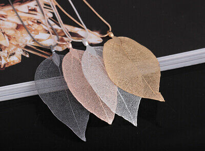 1PCS Women Gold Plated Leaf Pendant Long Sweater Long Chain Necklace Jewelry US