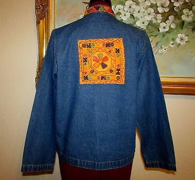 Nwot New Identity Embroidered W Mirrors Denim Jacket/Nehru Collar Size S Petite