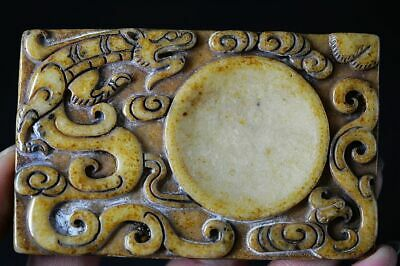Exquisite Chinese Old Jade Carved *dragon/Phoenix* inkstone  H27