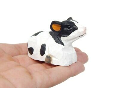 Miniature Wooden Carving Small Spotted Cow Figurine Farm Animal Home Decor