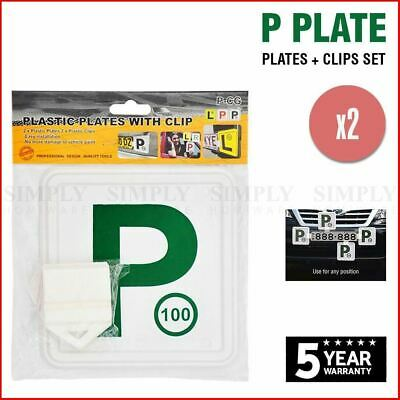 2x Green P Plate Clips Holder Set White Car Number License NSW L Red P1 P2 Free