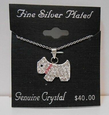 "NWT Puppy Dog Animal Pendant w/ 18"" Chain Fine Silver Plated Necklace Beautiful!"