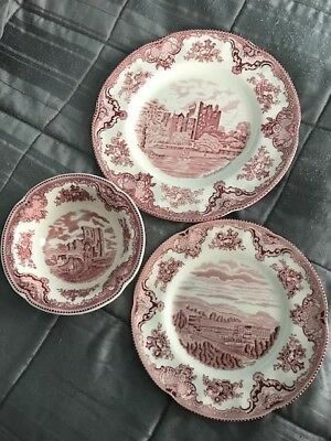 Johnson Bros Old Britain Castles Pink Place Setting Bowl Salad & Dinner Plate
