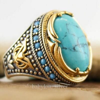 Wholesale Latest Handmade 925 Silver Turquoise Ring Women Men Vintage Jewelry