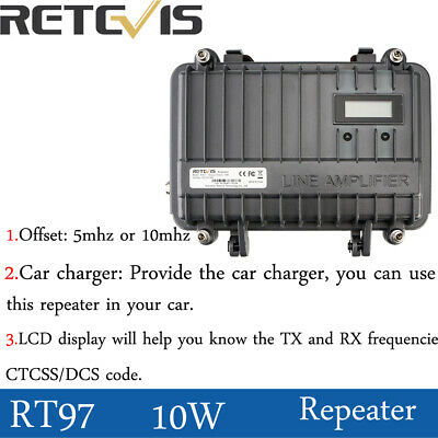 Retevis RT97 UHF 16CH Walkie Talkie Signal Amplifier Radio Repeater Amplifier