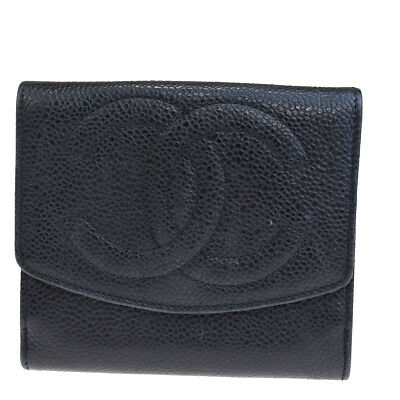 2d7f81597485 Authentic CHANEL CC Logos Bifold Wallet Purse Caviar Skin Leather Black  02EM856