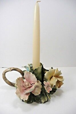 Capodimonte Italy Ceramic Porcelain Candle Holder Floral Roses Pink White Blue