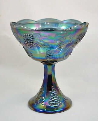Vintage Indiana Blue Carnival Glass Compote Harvest Grapes