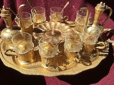 Antique/Vintage Persian Tea Set (8) W/Glass Inserts,Sugar,Milk,Spoons Gold Gilt!