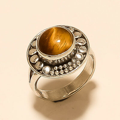 121775d2a Natural Brazilian Tiger Eye Ring 925 Sterling Silver Women Christmas Jewelry  New