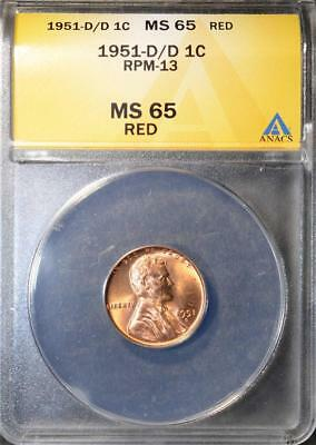 1951-D/D MS65 RD Lincoln Cent RARE Error Nice Copper GEM Wheat Penny Ships FREE