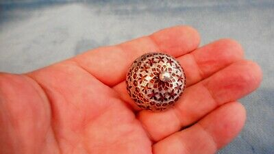 Vintage Sterling Silver Enamelled Lidded Pill Snuff Box   S33917