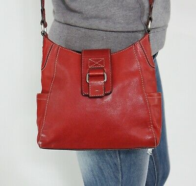 541c88a131 FOSSIL Red Small Leather Shoulder Hobo Tote Satchel Cross Body Purse Bag