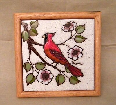Sandstone Tile, Trivet, Wall Hanger Cardinal on Dogwood Branch