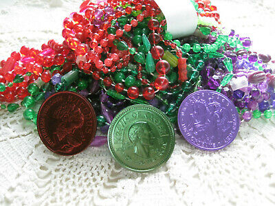 #B-Vintage New Orleans-Mardi Gras beads 1960's carnival lot 3 dzn + doubloons