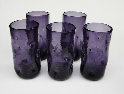 Blenko Indented Crackle Tumbler Set of Five Glasses 6 1/4 Tall Mulberry