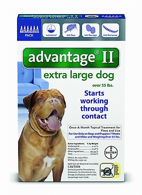 READ ABOUT FAKES - 6Pk Bayer Advantage II Flea Control Extra Large Dogs 55+ lbs