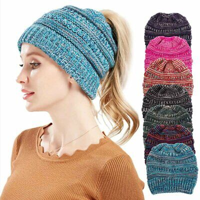 Fashion Wool Knitted Beanies Winter Warm Ponytail Hat Knitting Women Head Cap LE