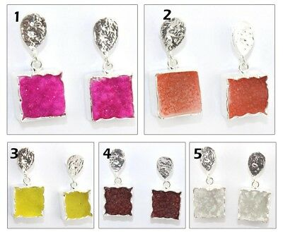 Real Square Agate Sugar Druzy Silver Plated Drop Charm Earring Handmade Jewelry