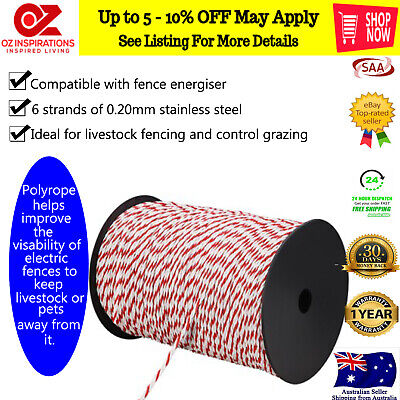 Giantz 500m 4mm Stainless Steel Rope Polywire Poly Tape Electric Fence