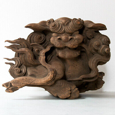 Japanese Antique Wood Carving Lion Shishi Kibana Edo Period