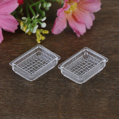 2Pcs 1:12 Dollhouse miniature accessories resin tray simulation food plate toysO