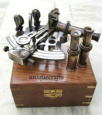 Marine Solid Brass Antique Sextant With Box ~Kelvin & Hughes Replica Sextant.