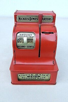 Uncle Sam's 3-Coin Register Bank - Registrierkassa aus Blech als Spardose !