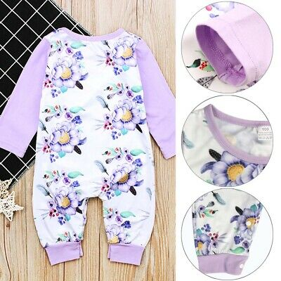 Convenient Baby Girl Cotton Romper Bodysuit Jumpsuit Playsuit Clothes Outfit UK