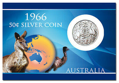 1966 50c AUSTRALIAN ROUND SILVER COIN, IN PRESENTATION CARD /e