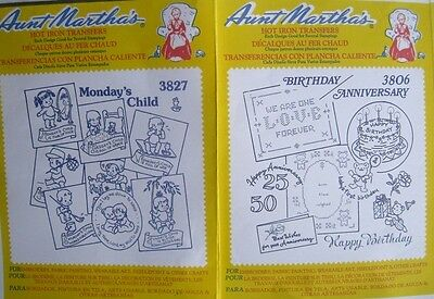 1 X5  Mixed Packs Of Aunt Martha's Hot Iron Transfers - Free Postage.