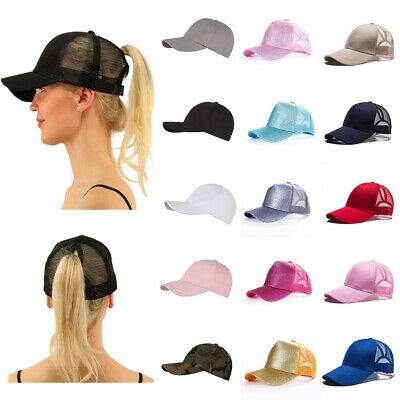Glitter Ponytail Baseball Cap Womens Messy Bun Adjustable Snapback Hip Hop Hat B