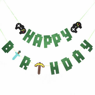 TNT Pixel Happy Birthday Paper Banner Hanging Bunting Party Decoration Garland