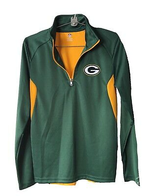 3b820d74 NFL TEAM APPAREL Womens GREEN BAY PACKERS Jersey 1/4 Zip Pullover Jacket  LARGE
