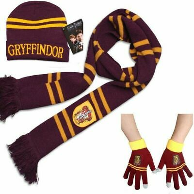 Lovely 3pcs Harry Potter Gryffindor House Knit Scarf + Hat + Gloves Warm Costume