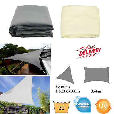 Waterproof Sun Shade Sail Cloth 3M 3.6M 3x4M Outdoor Canopy Awning Beige Grey UK