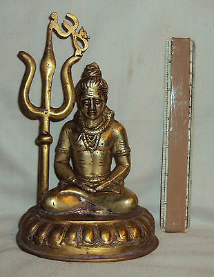 Antique Hindu Traditional Indian Ritual Brass Statue God Shiva #