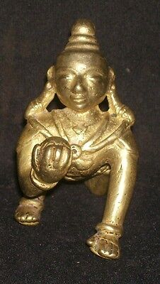 Antique Hindu Traditional Indian Ritual Brass God Baby Krishna Crawling (Rare):