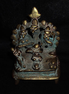 Antique Hindu Traditional Indian Ritual Bronze Family Of God Shiva Very Rare ##1