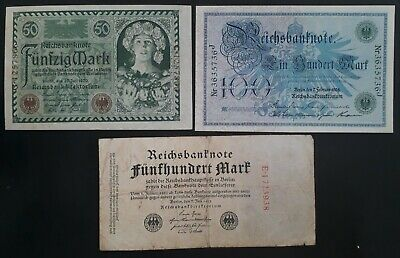 1908-22 Germany lot of 3 Reichsbanknotes 50, 100 & 500Mk Notes P34 /68 /74a